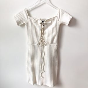 NWOT h:ours Revolve Dorian Ribbed Lace Up Dress
